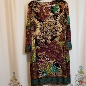 Eci floral brown and purple shift dress